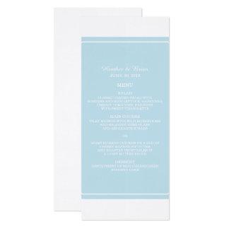 Blau-einfach elegantes Hochzeits-Menü Karte