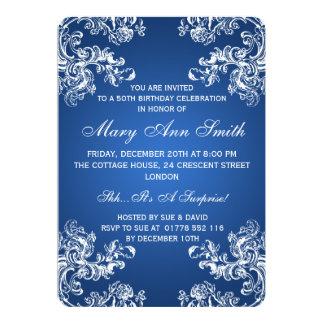 Blau elegantes 50. des Geburtstags-Party-Vintages 12,7 X 17,8 Cm Einladungskarte