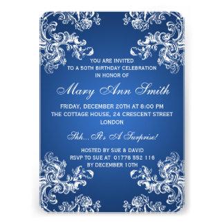 Blau elegantes 50 des Geburtstags-Party-Vintages Personalisierte Ankündigungen