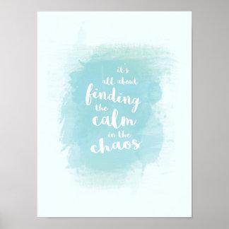 Blau finden ruhig in der poster