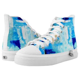 Blau gemalte hohe Spitzen Hoch-geschnittene Sneaker