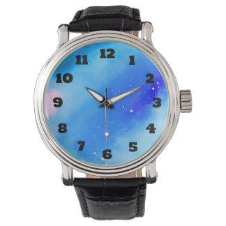 Blau gemarmorter Weltraum-abstrakter Hintergrund Armbanduhr