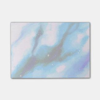 Blau gemarmorter Weltraum-abstrakter Hintergrund Post-it Klebezettel