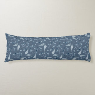 Blau-Graues Blatt-u. Beeren-nahtloses Muster Seitenschläferkissen