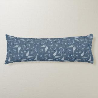 Blau-Graues Blatt-u. Beeren-nahtloses Muster XXL Kissen
