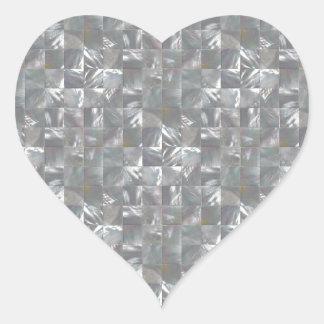 Blau-Graues Perlmuttfliesen-Muster Herz-Aufkleber