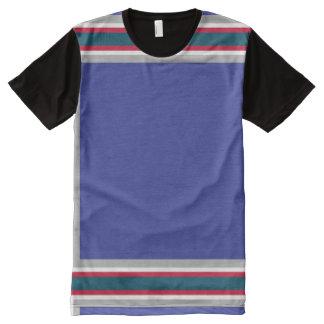 Blau mit grauer roter und weißer Ordnung T-Shirt Mit Komplett Bedruckbarer Vorderseite