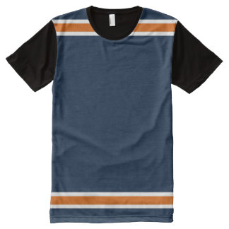 Blau mit orange und weißer Ordnung T-Shirt Mit Komplett Bedruckbarer Vorderseite