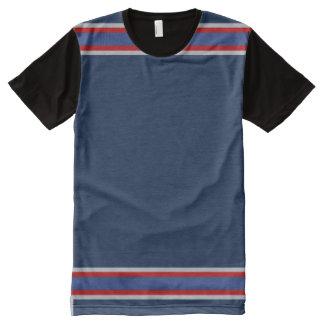 Blau mit Silber und roter Ordnung T-Shirt Mit Komplett Bedruckbarer Vorderseite