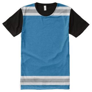 Blau mit Silber und weißer Ordnung T-Shirt Mit Komplett Bedruckbarer Vorderseite