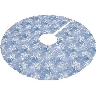 Blau mit weißen Schneeflocken Polyester Weihnachtsbaumdecke