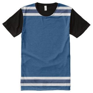 Blau mit weißer Ordnung T-Shirt Mit Komplett Bedruckbarer Vorderseite