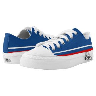 Blau mit weißer und roter Ordnungs-Lo-Spitze Niedrig-geschnittene Sneaker