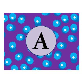Blau punktiert Postkarte