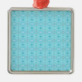 blau quadratisches silberfarbenes ornament