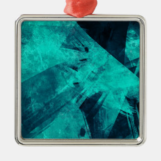 Blau-Schwarze Malerei Quadratisches Silberfarbenes Ornament