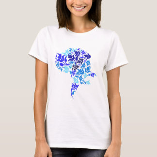 Blau treibt Deutsche Dogge Blätter T-Shirt