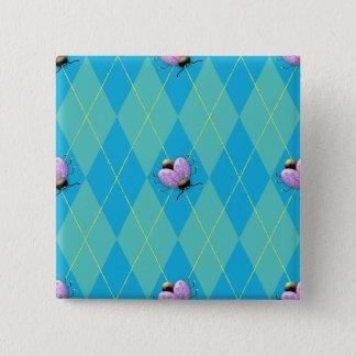Blau-u. Aqua-Rauten-Marienkäfer Quadratischer Button 5,1 Cm