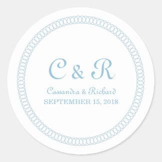 Blau umkreist ringsum Hochzeits-Aufkleber Runder Aufkleber
