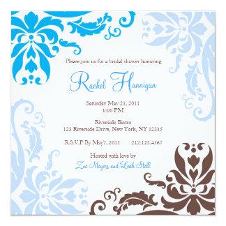 Blau und Brown-Damast-Brautparty laden ein Quadratische 13,3 Cm Einladungskarte