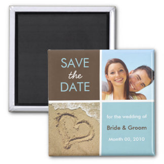 Blau und Brown-Foto-Save the Date Magneten Quadratischer Magnet