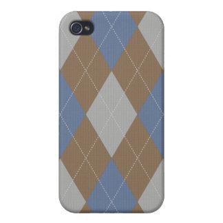 Blau und Brown gestrickter Art-Raute Iphone Kasten iPhone 4 Etui