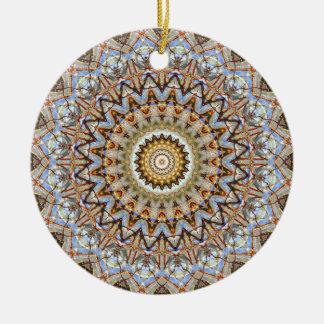 Blau und Brown-Mandala-Kunst Rundes Keramik Ornament