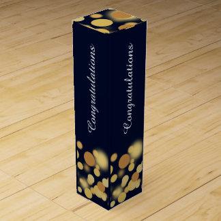 Blau-und Goldchampagne-Blasen-personalisierter Weinbox