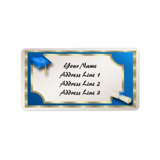 Blau und GoldGrauation Adressen-Etiketten Adressaufkleber