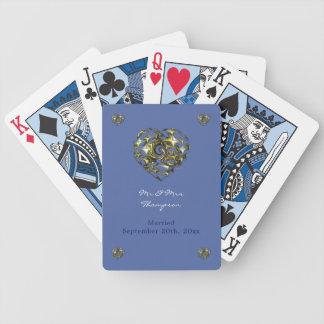 Blau-und Goldhochzeits-Herz Bicycle Spielkarten