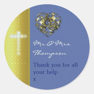 Blau-und Goldhochzeits-Kreuz danken Ihnen Runder Aufkleber