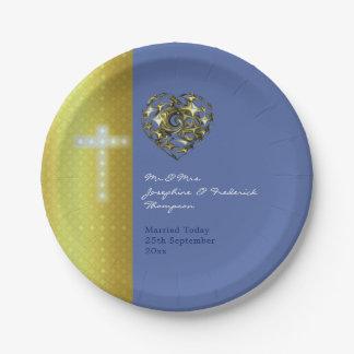 Blau-und Goldhochzeits-Kreuz Pappteller