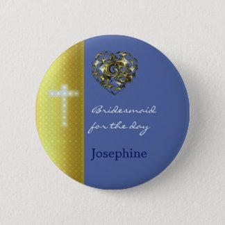 Blau-und Goldhochzeits-Kreuz Runder Button 5,7 Cm