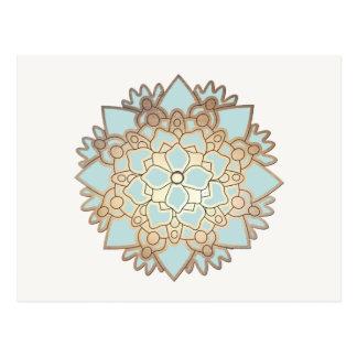 Blau-und Goldlotos-Blumen-Postkarte Postkarte