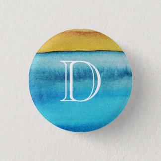 Blau-und Goldrustikales Monogramm Runder Button 3,2 Cm