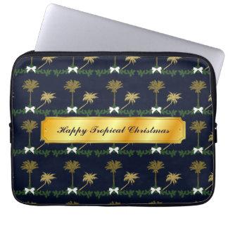 Blau-und Goldtropisches Weihnachten mit Palmen Laptop Sleeve