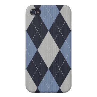 Blau und Grau gestrickter Art-Raute Iphone Kasten iPhone 4 Hülle