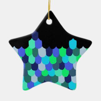 Blau-und Grün-Skalen Keramik Stern-Ornament