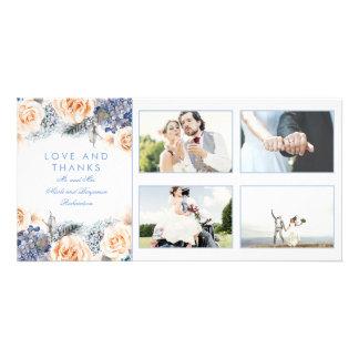 Blau-und Pfirsich-Blumenhochzeit danken Ihnen Karte