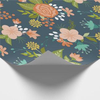 Blau-und Pfirsich-Garten-Blumenmuster Einpackpapier