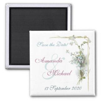 Blau und rosa Save the Date Quadratischer Magnet