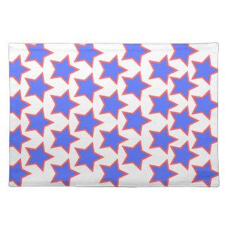 Blau-und Rot-Sterne Stofftischset