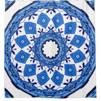 Blau und Weiß Duschvorhang