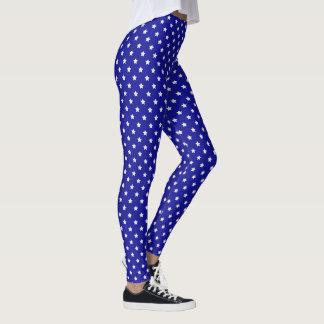 Blau-und Weiß-Sterne Leggings