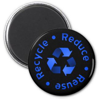 Blau verringert, verwendet wieder, recycelt runder magnet 5,1 cm