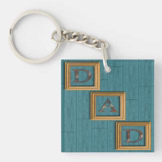 Blau verschalt der Vatertags-Schlüsselkette Einseitiger Quadratischer Acryl Schlüsselanhänger