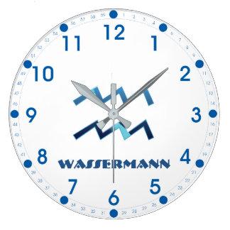 Blau Wassermann Wassermann-Tierkreis Große Wanduhr