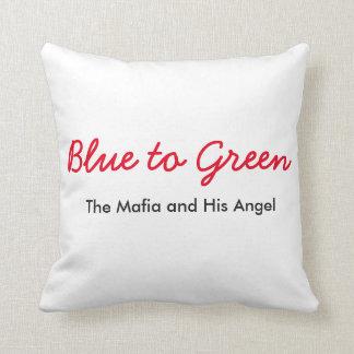 Blau, zum des Kissens zu grünen Kissen