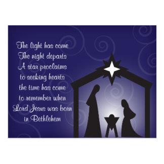 Blaue Abends-Weihnachtsnativity-Postkarte Postkarte
