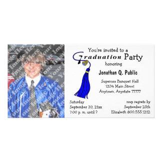 Blaue Abschluss-Party-Foto-Einladung Photo Karte